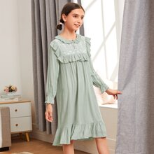 Girls Floral Embroidered Mesh Panel Ruffle Trim Nightdress