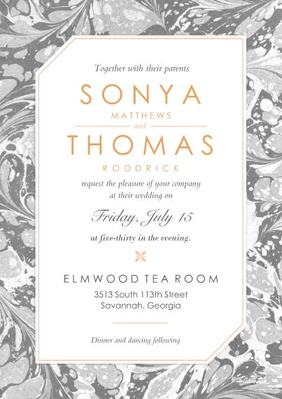 Rehearsal Dinner Invites 5x7 Cards, Premium Cardstock 120lb with Rounded Corners, Card & Stationery -Gray Marbled Invitation