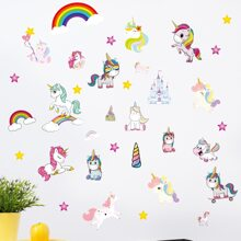 Kids Cartoon Unicorn Print Wall Sticker