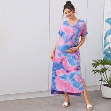 Maternity T-Shirt Kleid mit V Kragen, Manschetten, Schlitz am Saum und Batik