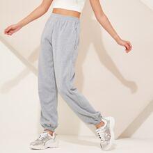 Elastic Waist Pocket Side Sweatpants