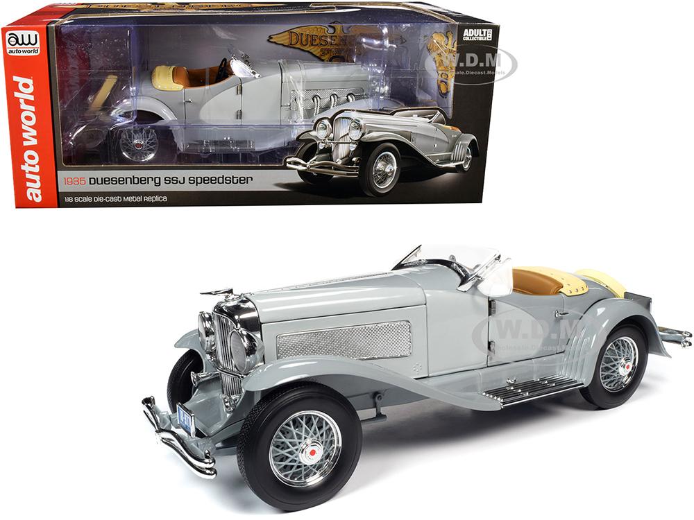 1935 Duesenberg SSJ Straight-8 Speedster Light Gray and Dark Gray 1/18 Diecast Model Car by Autoworld