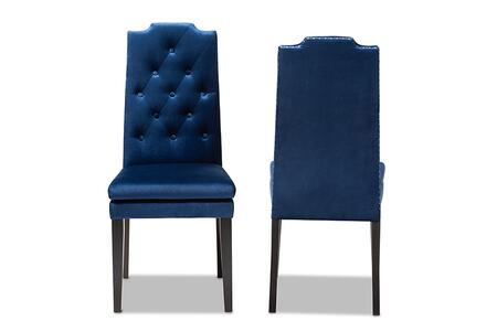 Dylin Collection BBT5158-NAVYBLUE-DC Set of 2 Dining Chairs with Silver Nailhead Trim  Double Cushioned Seat  Espresso Brown Finished Rubberwood