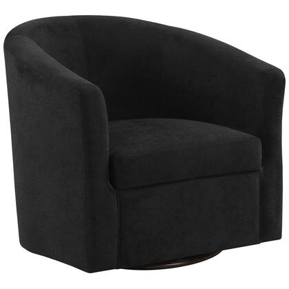 355785 Accent Chair with Swivel Base  Thick Medium-Firm Cushioned Seat  Sloped Armrest  Solid Wood Frame and Velvet Fabric Upholstery in Black