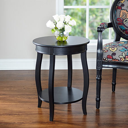 L. Powell Co. Round Table Chairside Table, One Size , Black
