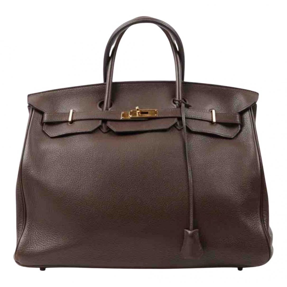 Hermes - Sac a main Birkin 40 pour femme en cuir - marron