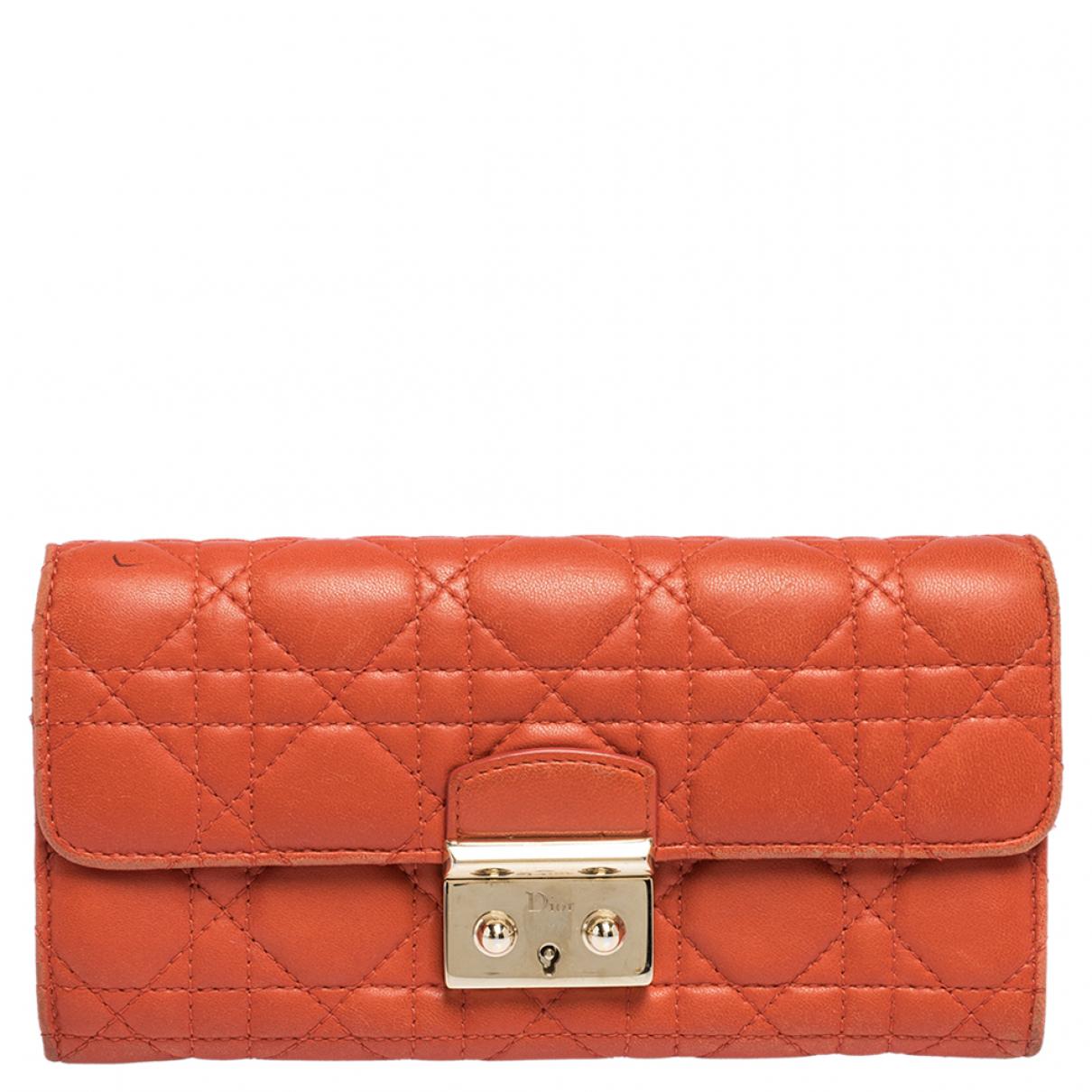 Dior - Portefeuille   pour femme en cuir - orange