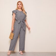 Plus Tie Back Ruffle Armhole Belted Gingham Jumpsuit