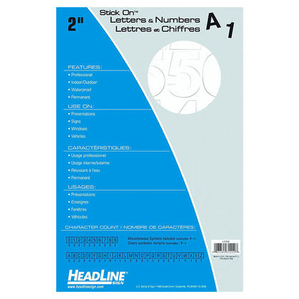 Headline Sign@ Stick On vinyle lettre et num ero autocollants - blanc lettres, majuscule, 50mm (2