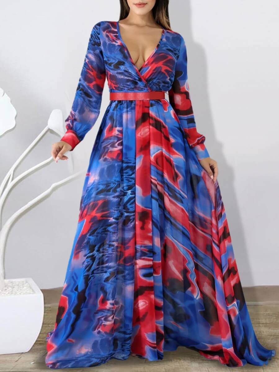 LW Lovely Trendy V Neck Tie-dye Blue Maxi Dress