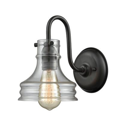 65225/1 Binghamton 1 Light Wall Sconce in Oil Rubbed Bronze with Clear