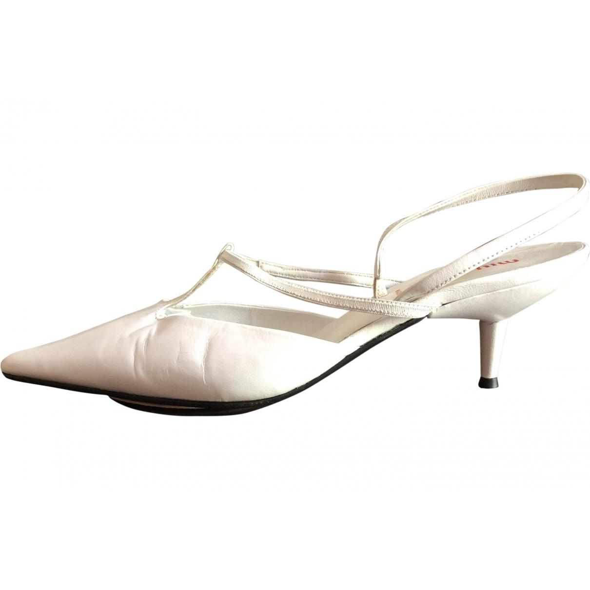 Miu Miu \N White Leather Heels for Women 36.5 EU