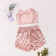 Cami Top mit Kontrast Bindung & Delphin Shorts