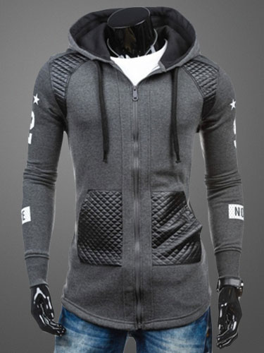 Milanoo Gray Hoodie Lace Up Cotton Hoodie for Men