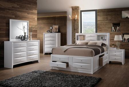 Ireland Collection 21696EKSET 5 PC Bedroom Set with King Size Bed + Dresser + Mirror + Chest + Nightstand in White