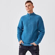 Men Funnel Neck Zip Half Sweater