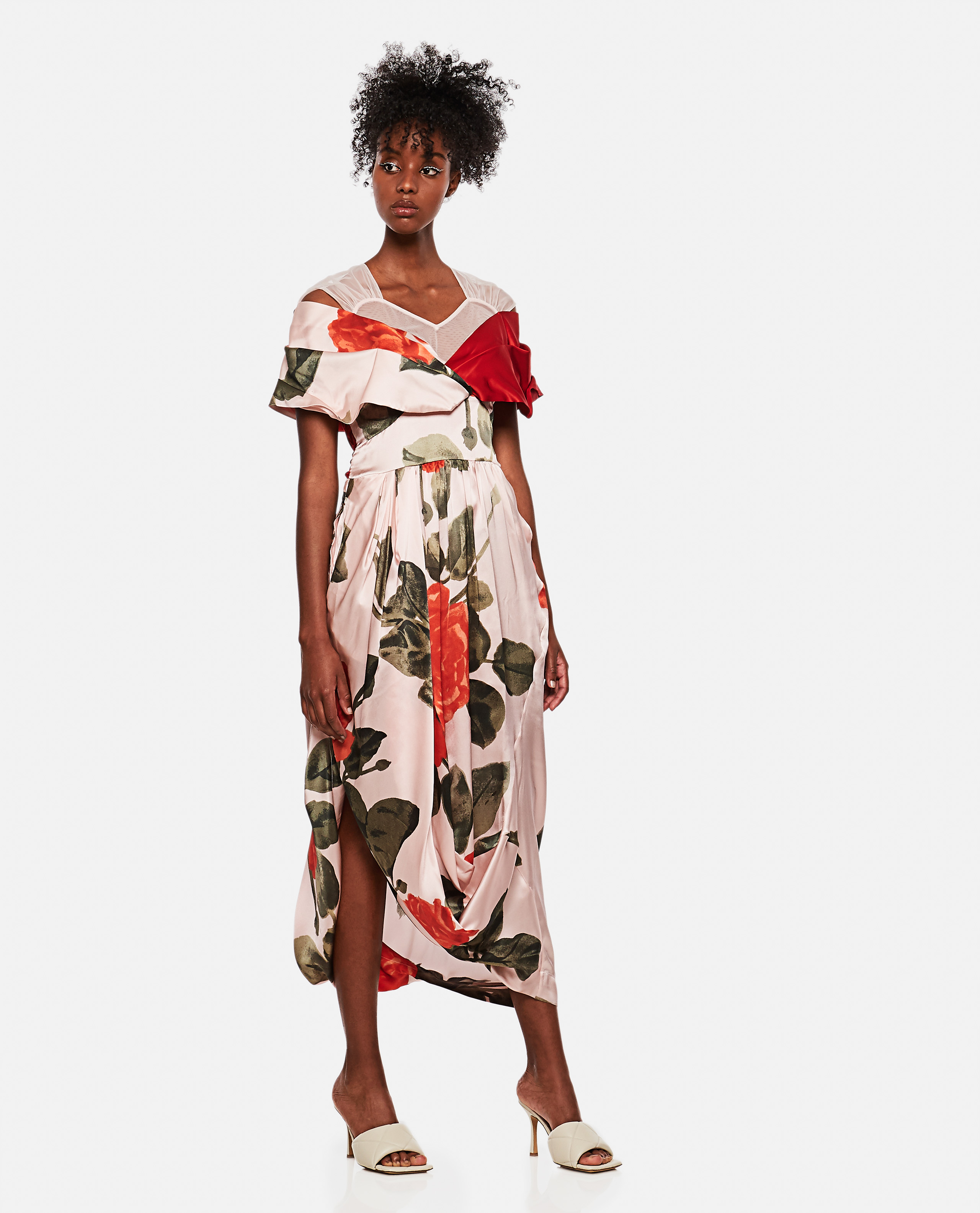 Draped floral silk dress