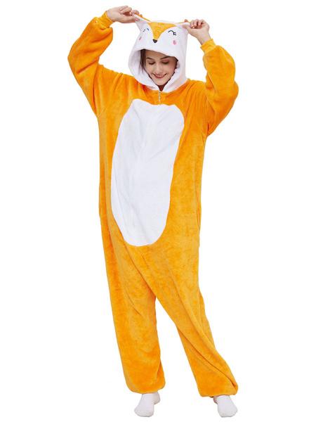Milanoo Disfraz Halloween Pijamas Kigurumi Onesie Fox Adultos Naranja Facil Aseo Disfraces Kigurumi Carnaval Halloween