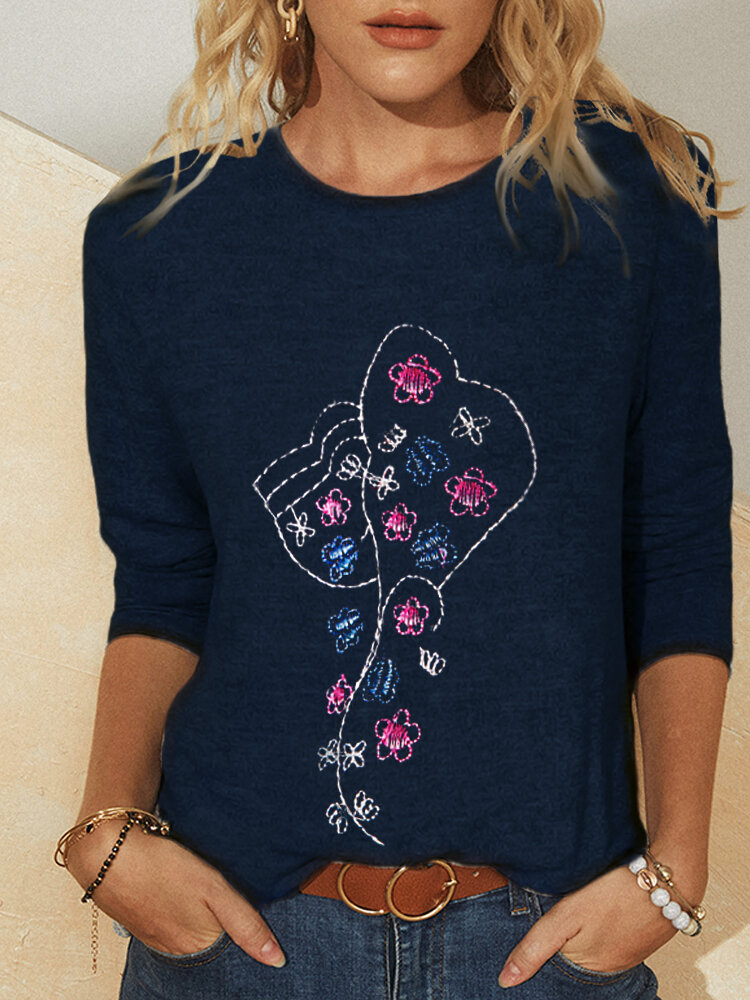 Embroidery Long Sleeves O-neck Casual T-shirt For Women