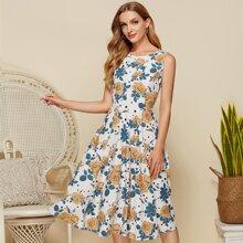 Simple Flavor Polka-dot & Floral Print Dress