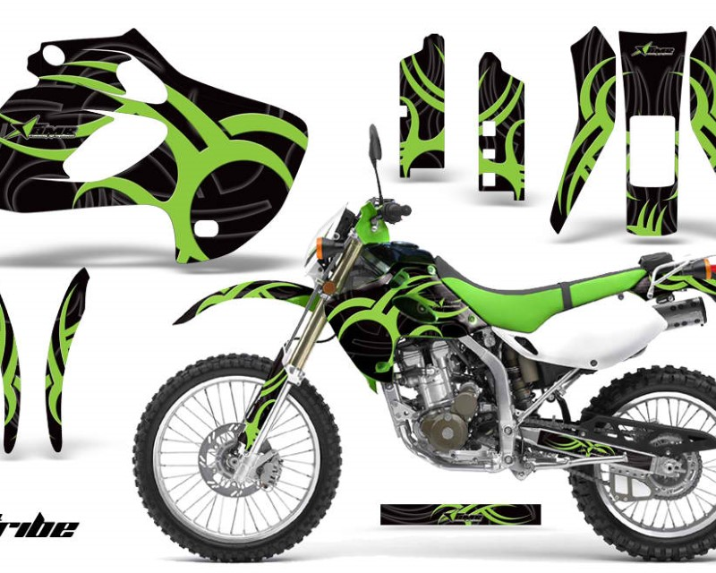 AMR Racing Dirt Bike Graphics Kit Decal Sticker Wrap For Kawasaki KLX250 1998-2003áTRIBE GREEN BLACK