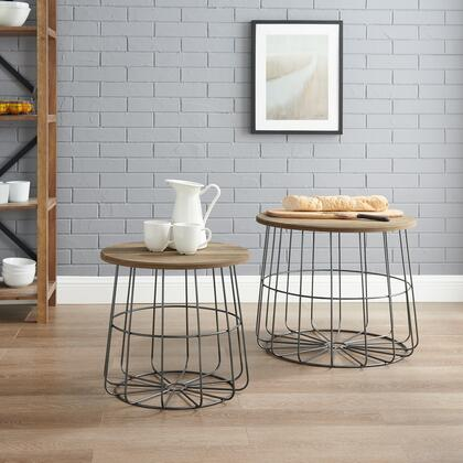 AC127BRN01U Ac127Brn01U Cam Metal And Nesting Basket Tables With Rich Wood Top With Handle Cut Out For Easy Removal  Industrial Wire Formed Basket