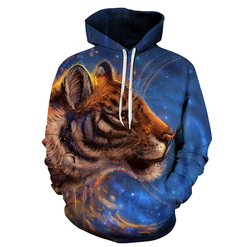Men's Fashion Novelty Animal 3D Printed Hoodies Sweatshirts Integrated Printing Without Ever Fading Cracking Peeling or Flaking Smooth Milk Silk Touch