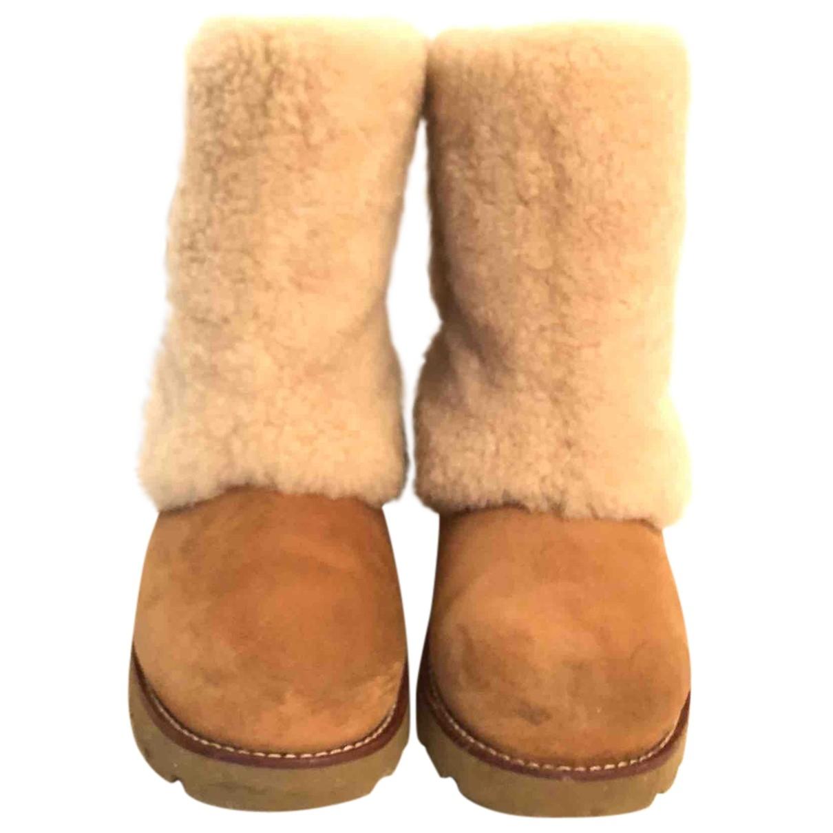Ugg - Boots   pour femme en fourrure synthetique - beige