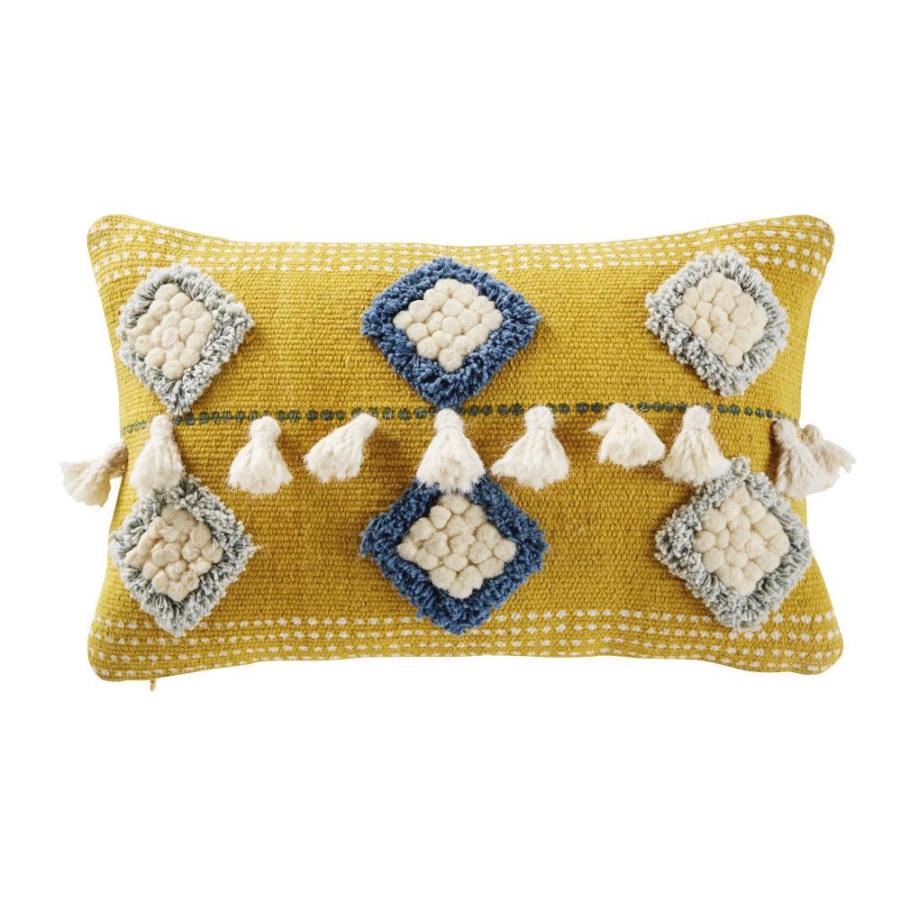 Kissen, gelb mit getufteten Motive in Blau und Ecru mit Pompons 25x40