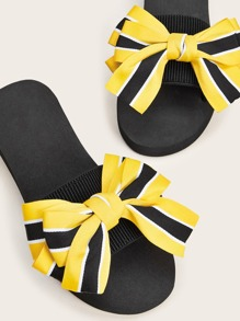 Striped Bow Decor Flat Sliders
