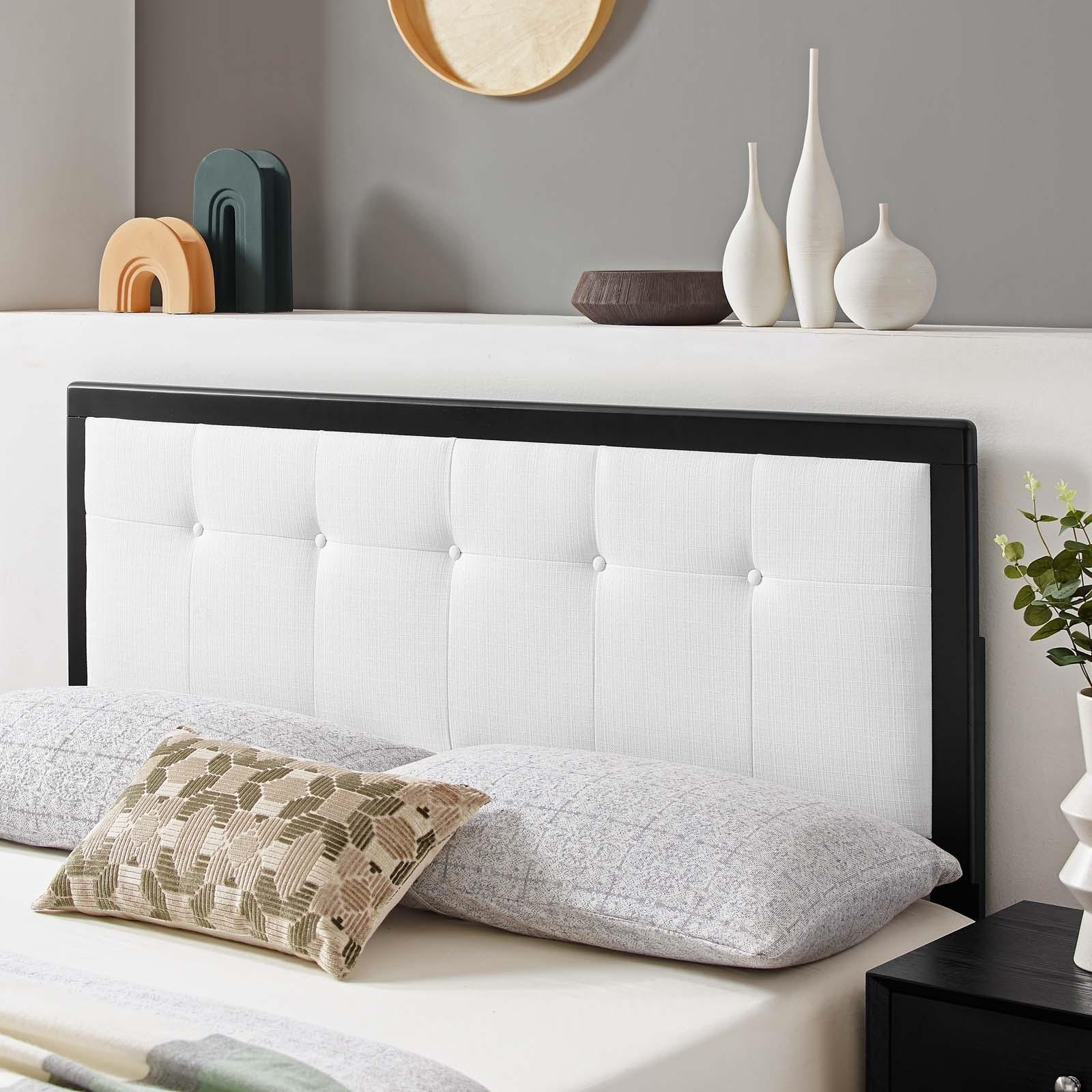 Draper Tufted Twin Fabric and Wood Headboard in Black White