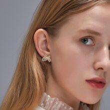 1 Paar Schmetterling formige Ohrringe mit Kunstperlen Dekor