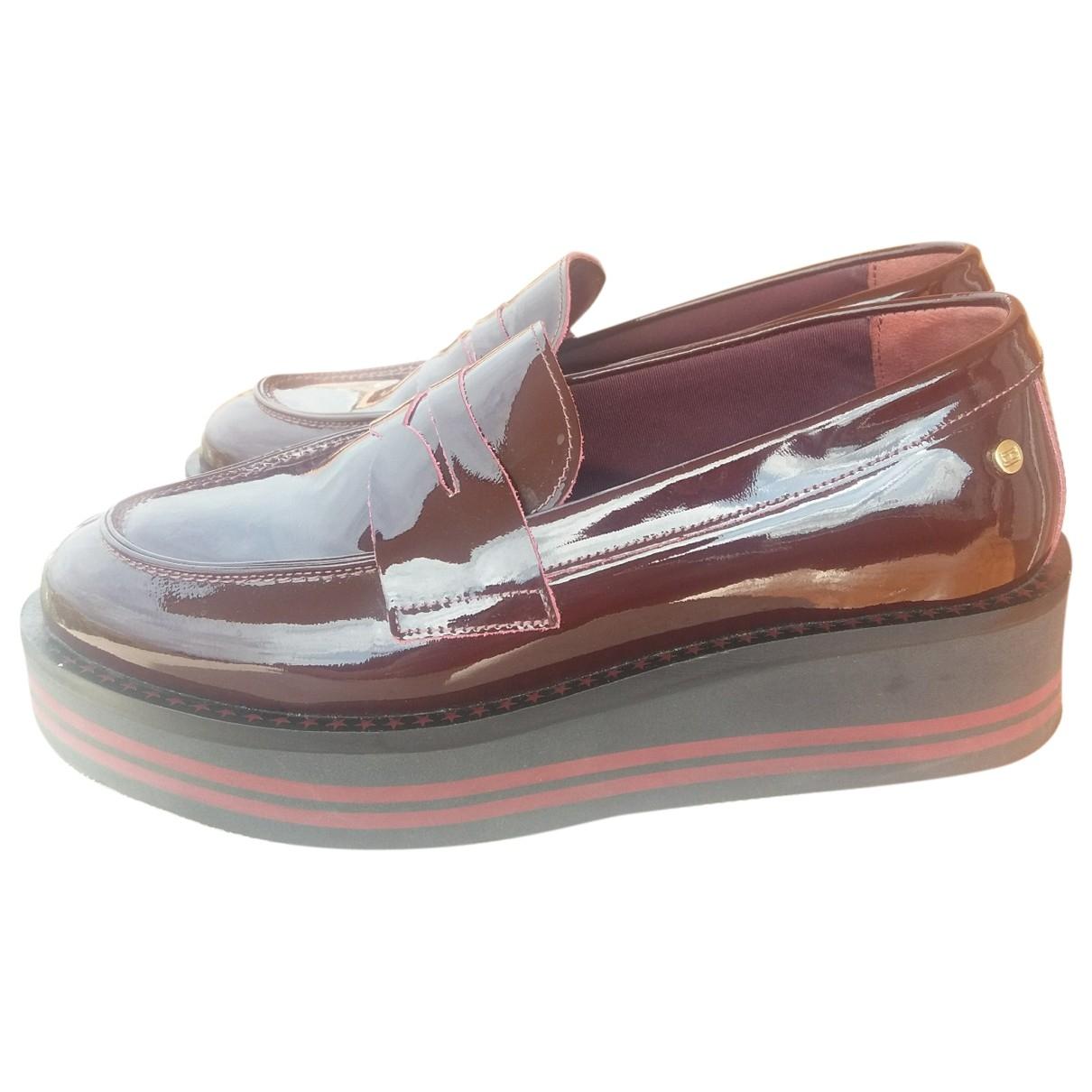 Tommy Hilfiger \N Burgundy Leather Flats for Women 38 EU