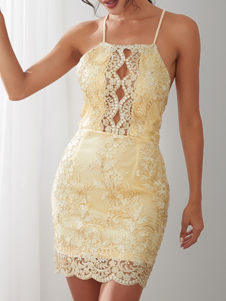 Yoins Thread Embroidered Hollow Out Halter Neck  Backless Dress in Gold