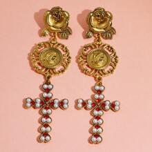 Cross Charm Drop Earrings