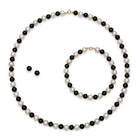 Cultured Freshwater Pearl & Dyed Onyx 3-pc. 14K Yellow Gold Jewelry Set, One Size , No Color Family