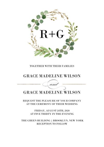Wedding Invitations 5x7 Cards, Premium Cardstock 120lb, Card & Stationery -Wedding Invitation Natures Wreath by Tumbalina