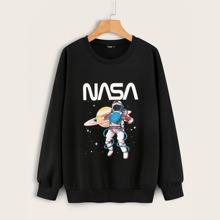 Sudadera de hombros caidos con estampado de astronauta y letra