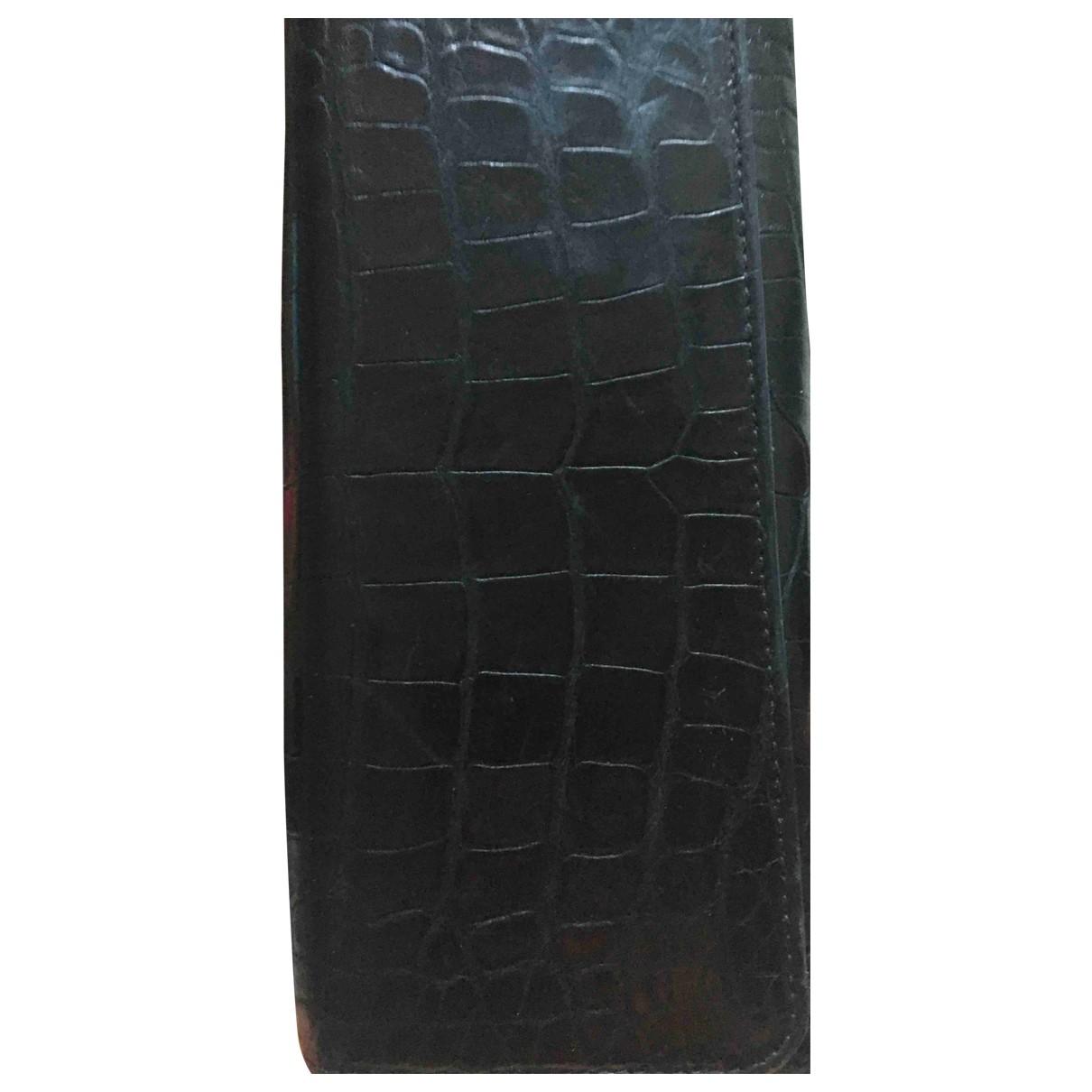 Prada - Portefeuille   pour femme en crocodile - noir