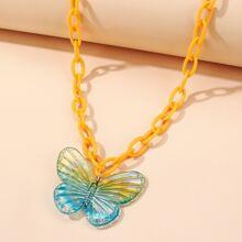 Maedchen Halskette mit Schmetterling Dekor und Kette