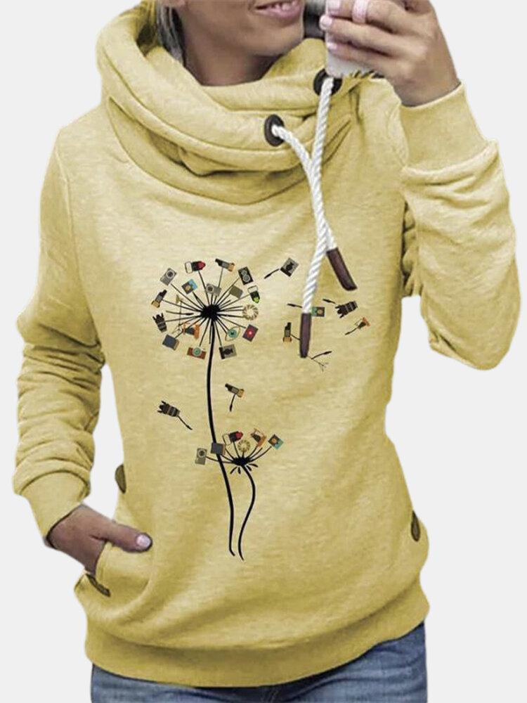 Icon Print Casual High-neck Long Sleeve Plus Size Sweatshirt