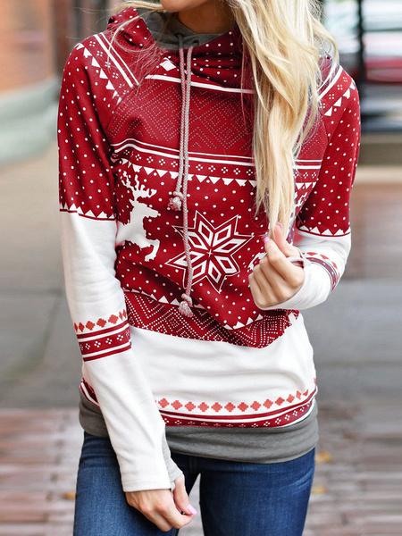 Milanoo Women Spring Hoodie Christmas Print Long Sleeve Polka Dot Red Hooded Sweatshirt