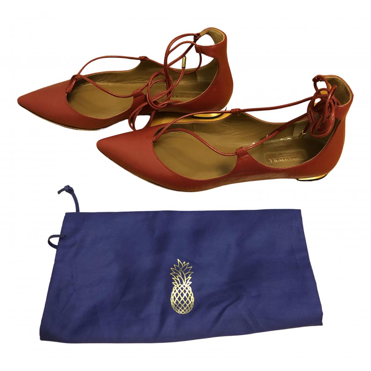 Aquazzura - Ballerines Christy pour femme en cuir - rouge