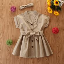 Toddler Girls Solid Belted Shirt Dress With Headband