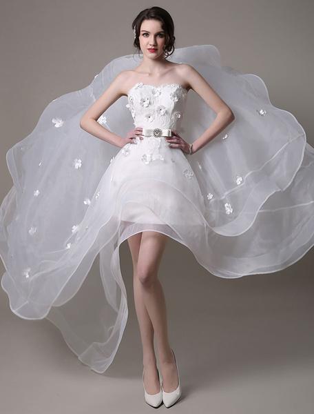 Milanoo Vestido de novia con escote palabra de honor y lazo