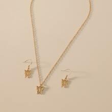 1 pieza collar con diseño de mariposa con 1 par pendientes largos con mariposa
