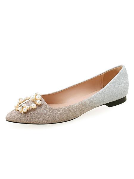 Milanoo Zapatos de noche Perlas de punta puntiaguda Pisos de noche con purpurina