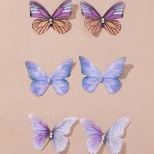 3 Paare Ohrstecker mit Schmetterling Design