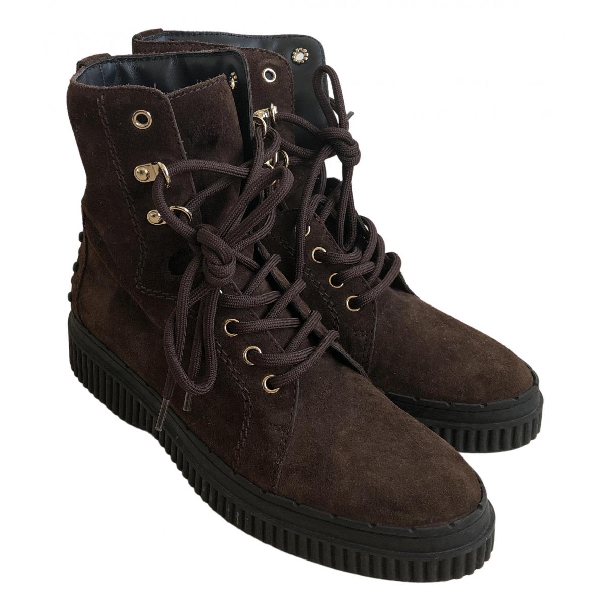 Tods - Boots   pour femme en velours - marron