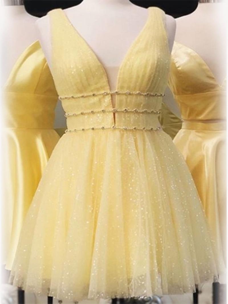 Ericdress Straps A-Line Pick-Ups Mini Homecoming Dress